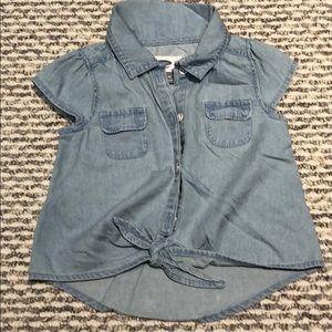 Old navy denim knot girl crop shirt top